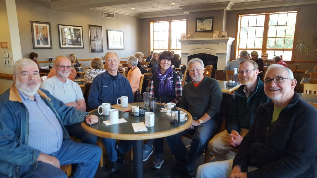 Friends having coffee at Schulers in 2018